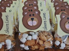 Teddy Bear Picnic Baby Shower Mommy to Bee Treat Bags S'more Love. Teddy Grahams, Chocolate Chips, Mini Marshmallows