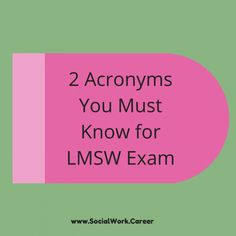 The Two Acronyms You Must Know for the LMSW Exam – SocialWork.Career The Two Acronyms You Must Know for the LMSW Exam – SocialWork.Career,Social Worker Two helpful acronyms for social workers taking the LMSW. Social Work Offices, Social Work Exam, Social Work Quotes, School Social Work, Social Work Humor, Social Work Theories, Social Skills, Social Work License, Study Board