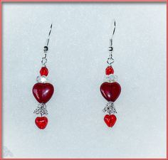 Czech glass double heart earrings