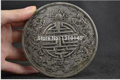 [Metal Crafts] Free shipping Old Collectibles Decorated Handwork Miao Silver Carving Guangxu Period Big ...