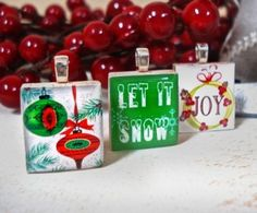 "Christmas Scrabble Tile Pendants from our set ""Let It Snow"" - by Mango and Lime Design"