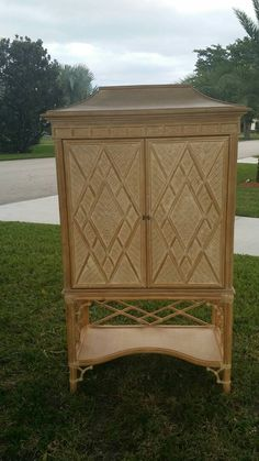 Vintage Rattan Faux Bamboo Pagoda Chinese Chippendale Hollywood Regency  Armoire TV Entertainment Center Cabinet Dresser Fretwork Chinoiserie