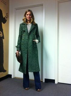 New chic | simple | long green wool coat | stripes | flare jeans #minimalist #fashion #style