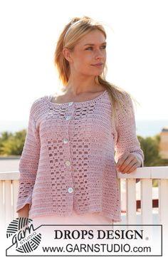 """Crochet DROPS jacket in """"Muskat"""". Size S - XXXL. ~ DROPS Design"""