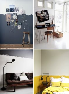 """I've been pinninga lot of images of spaces with uneven paint finishes. I love the laid back, anti-conformist vibe of these unfinished painted walls. They seem to be just saying """"I don't care about what's normal"""". I used these pictures as an inspiration for my own office wall – which I'll share very soon I..."""