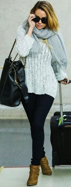 Chunky sweaters are great for cozying up on the plane.