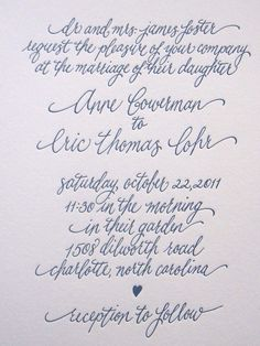 Wedding Invitation Calligraphy--Sophie font. $150.00, via Etsy.