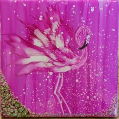 Flamingo for Christie in alcohol ink on 6x6 ceramic tile by Tina