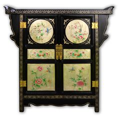 "32"" Black Lacquer Cabinet with 2 Doors with Hand Painting on Embossed Matt Gold Leaf"