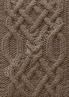 узор 108 плетенка из 28 петель| каталог вязаных спицами узоров