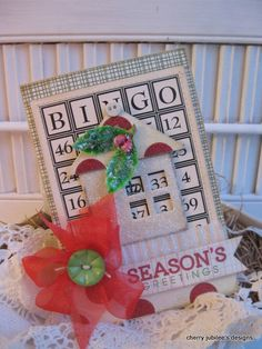 Vintage bingo card christmas house