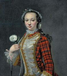 Portrait of a Jacobite Lady Cosmo Alexander (the Lady wears a tartan riding habit & holds the Jacobite symbol, the white rose) 18th Century Dress, 18th Century Clothing, 18th Century Fashion, 19th Century, Scottish Women, Scottish Fashion, Scottish Clothing, Riding Habit, Tartan Dress