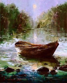 Gleb Goloubetski - Evening on a River Beautiful Paintings, Beautiful Landscapes, Landscape Art, Landscape Paintings, Russian Painting, Boat Art, Boat Painting, Impressionist Art, Pastel Art