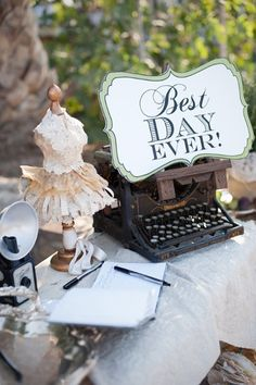 for those of you who are looking to display vintage accents, this is fun for a guest book table