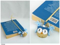 Crochet Blue Owl Necklace and Owl Bookmark in one by Etilinki