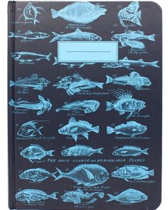 "The Test The Original Hardcover Notebook    Here's a deep blue notebook for sunny days in a rowboat, afternoons on the grassy shore, and biology lab – anywhere you spend time figuring out fish.  A couple dozen fine species decorate the cover to keep you company – quietly – on all your voyages. As far as you're concerned, there's no ""ick"" in ""ichthyology"" so what better way to let someone know you're hooked? Give one to your favorite fisherman or surprise the new scientist at the aquarium...."