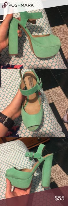 Steve Madden size 7, only wore them 3 times It's a light turquoise color, I bought them for prom 3 years ago and wore them to church twice and then never again. They are so cute but they just collect dust in my closet. There is a dark spot where the big toe goes but you can't see it when you put the shoes on Steve Madden Shoes Platforms
