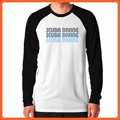 Teeburon Scuba Diving RETRO COLOR Raglan Long Sleeve T-Shirt - Retro shirts  (*