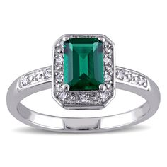 Miadora Sterling Silver Created Emerald and Diamond Ring (Size 6), Women's, Green