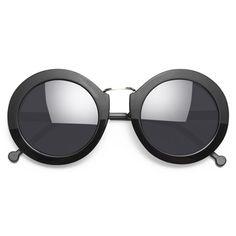 'Ryan' Thick Frame Round Sunglasses - Black Matte/Gloss - 5539-1