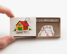 Mother's Day Home is where Mom is Card Matchbox/ Gift by shop3xu