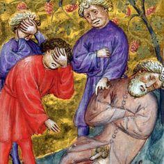 Medieval facepalm (Genesis 9:20-24), Biblia pauperum, Netherlands ca. 1395-1400 (BL, Kings 5, f. 15r)