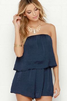 Waves They Roll Navy Blue Strapless Romper