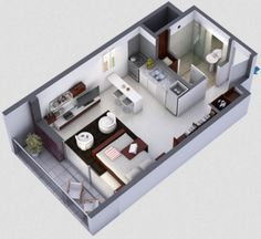 plano en 3d de monoambiente pequeño Studio Apartment Layout, Small Apartment Design, Studio Apartment Decorating, Small Apartments, Apartment Floor Plans, One Bedroom Apartment, Dream Apartment, Small Floor Plans, Small House Plans