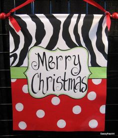 Christmas Door Sign Zebra and Polka Dot by SassyfrasDesignz, $39.99