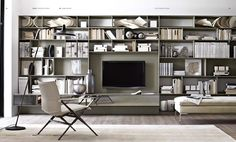 Contemporary TV wall unit / lacquered wood / aluminum / hi-fi FLAT.C B&B Italia Home Office Design, House Design, Office Designs, Office Style, Living Room Designs, Living Spaces, Living Rooms, Room Interior, Interior Design