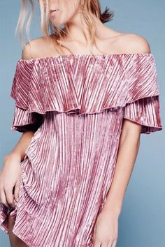 Pink Sexy Layered Off Shoulder Pleated Design Dress