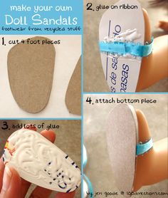 tutorial for diy doll sandals from DollDiaries.com