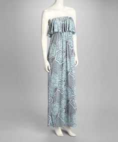 Take a look at this Grey Abstract Floral Strapless Maxi Dress by Fashionomics on #zulily today!$32.99, regular 72.00