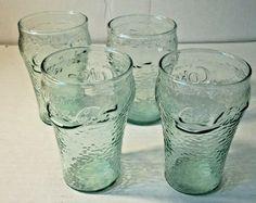Coca-Cola®~Green Contour Bell Design Glass~ ~16-oz.~Glass~ Set of 4