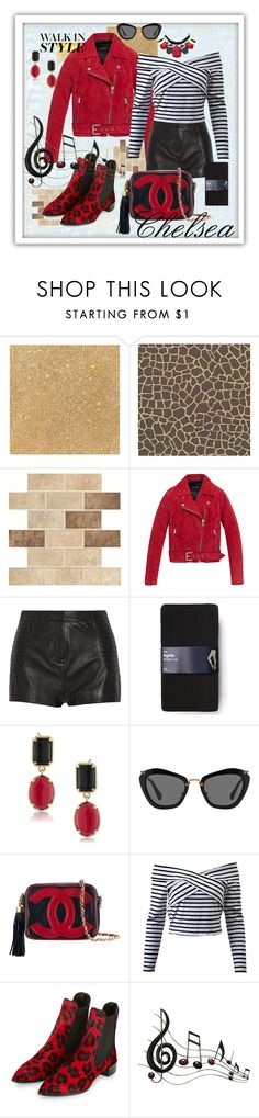 """""""Chelsea"""" by mavihulett ❤ liked on Polyvore featuring WALL, Andrew Marc, Pierre Balmain, Gap, 1st & Gorgeous by Carolee, Miu Miu, Chanel, Topshop, Benzara and Chico's"""