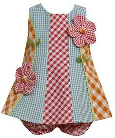 Size-12M BNJ-3196M 2-Piece MULTICOLOR MULTI-CHECKERED COLORBLOCK 'Button Flower' APPLIQUE SEERSUCKER Spring Summer Girl Party Dress,M13196 Bonnie Jean BABY/INFANT