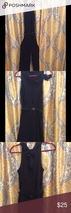 Tie around the neck pant suit jumper with belt Jumper New York & Company Pants Jumpsuits & Rompers