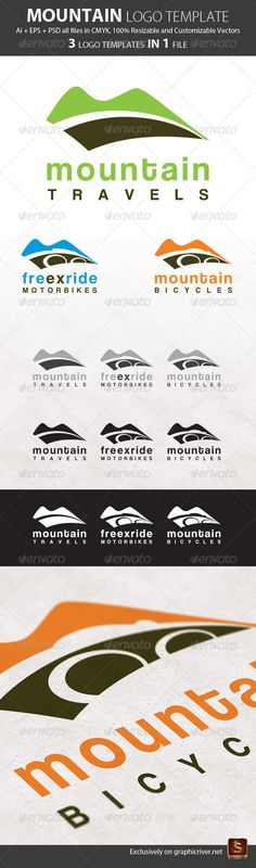Mountain Logo Template 3in1 #GraphicRiver Mountain Logo Template 3in1 Features 3 Elegant and modern Logo Templates which are 100% customizable and resizable. Made in all formats – Ai, EPS, and PSD. Mountain Logo Template 3in1 – ZIP includes Ai file EPS file PSD file 3000×3000 px Created: 12September11 GraphicsFilesIncluded: PhotoshopPSD #VectorEPS #AIIllustrator Layered: Yes MinimumAdobeCSVersion: CS Resolution: