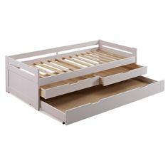 Lit gigogne en bois 90x190 cm avec sommiers à lattes et 3 tiroirs SUSIE