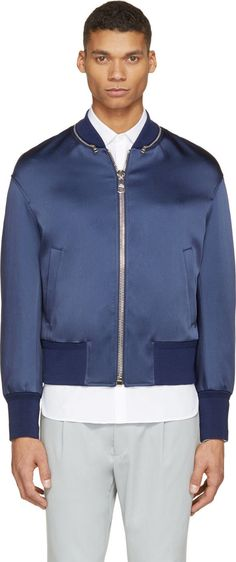 Neil Barrett for Men Collection Blue Bomber Jacket, Neil Barrett, Blue Satin, Mens Fashion, Zip, Jackets, Collection, Shopping, Moda Masculina