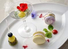 Herb & edible Flower Dessert | Into two kinds of macaroons and fruit sucette , a dish like a small miniature garden that butterfly and ladybug insect was garnished. Mint scented syrup and melon and kiwi in the shoe set , the macaroon violets and blueberries , verbena and peach , to produce a gorgeous aroma and sweetness to feel happy combination of herbs and fruit.