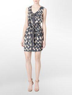 belted printed linen sheath dress