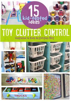 15 Kid Tested Ideas For Toy Clutter Control. Great Organization For The Play Room! Playroom Organization, Organization Hacks, Organizing Toys, Playroom Ideas, Clutter Control, Ideas Para Organizar, Toy Rooms, Kid Spaces, Getting Organized