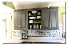 remove cabinet doors for open shelving / grey painted cabinets