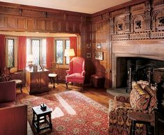 #Edsel #Ford's study, looking much as it did before his death in 1943, is lined with #Elizabethan paneling. A concealed door once led to his darkroom. Several of the photographs on display feature Ford's boats, by which he often traveled to work across Lake St. Clair.