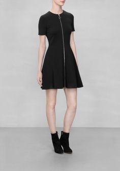 & OTHER STORIES Combining feminine fit with sporty references, this versatile skater dress is fashioned from a bouncy viscose blend and finished with a full-length zip at front.