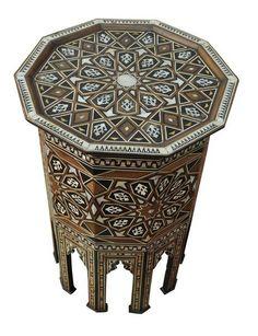 Egyptian Islamic Mother Of Pearl Wood Coffee & Tea Side Table - E Kenoz