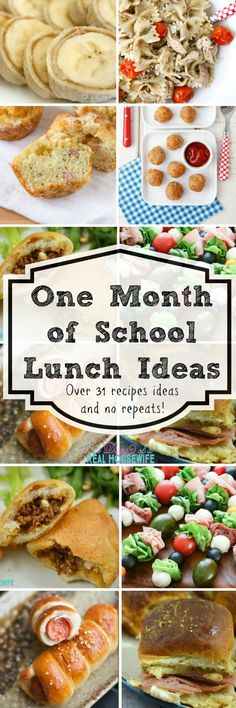 One month of school lunch ideas!!