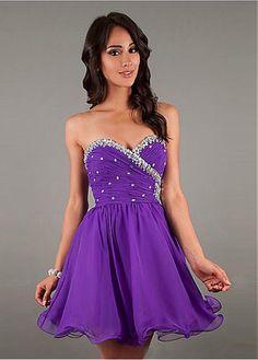 Charming Sweet Chiffon Stretch Satin A-line Sweetheart Neckline Raised Waistline Homecoming Dress Prom Dresses