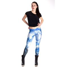 Tie Dye Leggings Blue Leggings Wearable Art Blue Yoga Pants Cloud... ($48) ❤ liked on Polyvore featuring grey, leggings and women's clothing